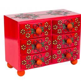 Drewniana komoda góralska z sześcioma szufladkami - czerwona