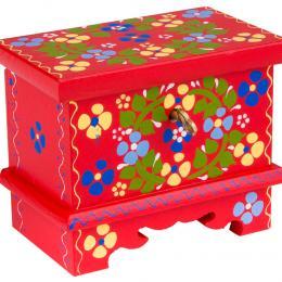 Drewniana miniatura malowanej skrzyni - czerwona