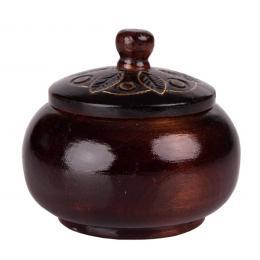 Drewniana szkatułka góralska - brązowa okrągła 8cm