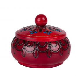 Drewniana szkatułka góralska - czerwona okrągła 10cm