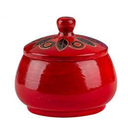 Drewniana szkatułka góralska - czerwona okrągła 8cm