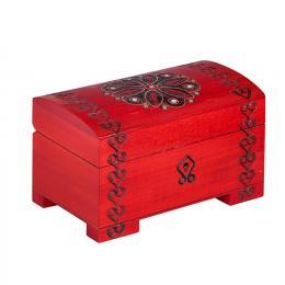 Drewniany kuferek na nóżkach - czerwony 14cm
