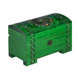 Drewniany kuferek na nóżkach - zielony 14cm