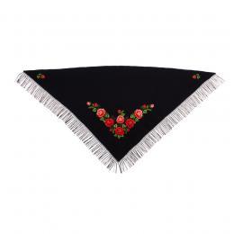 Duża chusta z haftem róż łowickich