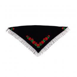 Duża chusta z haftem tradycyjnych róż łowickich