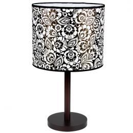 Lampa stojąca FOLK - duża - łowicka biało - czarna
