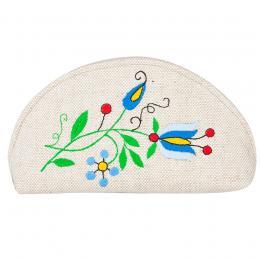 Duża półokrągła kosmetyczka - haft kaszubski - niebieskie kwiatki