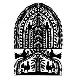 Duża wycinanka kurpiowska leluja - wzór 10 - czarna