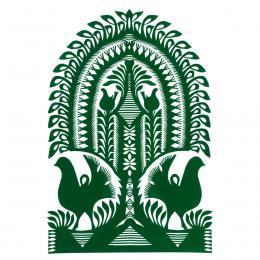 Duża wycinanka kurpiowska leluja - wzór 1 - zielona