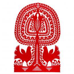 Duża wycinanka kurpiowska leluja - wzór 13 - czerwona