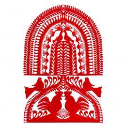 Duża wycinanka kurpiowska leluja - wzór 14 - czerwona