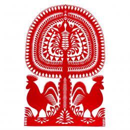 Duża wycinanka kurpiowska leluja - wzór 15 - czerwona