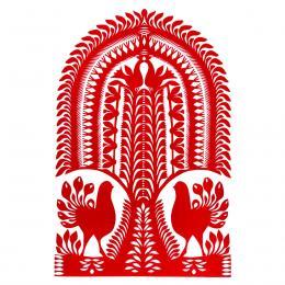 Duża wycinanka kurpiowska leluja - wzór 16 - czerwona