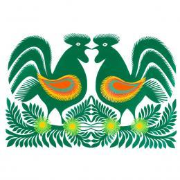 Duża wycinanka kurpiowska leluja - wzór 17 - zielona (kolorowa)