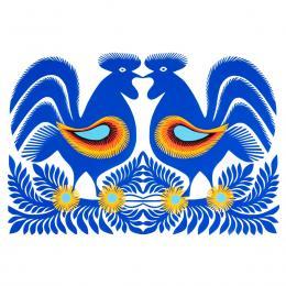 Duża wycinanka kurpiowska leluja - wzór 18 - niebieska (kolorowa)