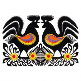 Duża wycinanka kurpiowska leluja - wzór 19 - czarna (kolorowa)