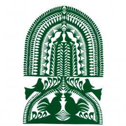 Duża wycinanka kurpiowska leluja - wzór 2 - zielona