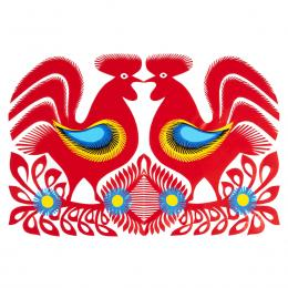 Duża wycinanka kurpiowska leluja - wzór 20 - czerwona (kolorowa)