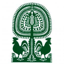 Duża wycinanka kurpiowska leluja - wzór 3 - zielona