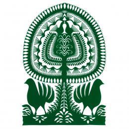 Duża wycinanka kurpiowska leluja - wzór 4 - zielona