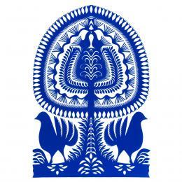 Duża wycinanka kurpiowska leluja - wzór 6 - niebieska