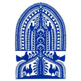 Duża wycinanka kurpiowska leluja - wzór 7 - niebieska