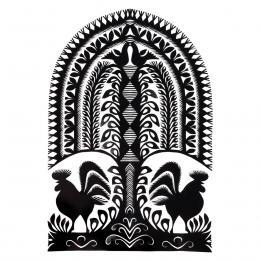 Duża wycinanka kurpiowska leluja - wzór 9 - czarna