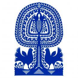 Duża wycinanka kurpiowska leluja - wzór 5 - niebieska