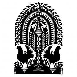 Duża wycinanka kurpiowska leluja - wzór 11 - czarna