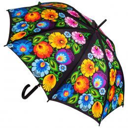 Duży klasyczny folk parasol - łowicki czarny