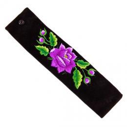 Haftowana bransoletka z fioletową różą