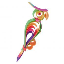 Kolorowa drewniana ozdoba choinkowa - papuga