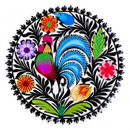 Okrągła kolorowa wycinanka z pawiem - motyw łowicki