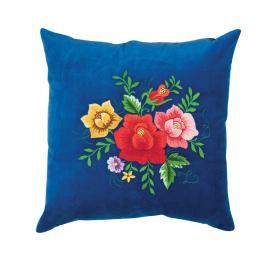 Niebieska poduszka z haftem łowickim 35x35 cm - róże kolorowe