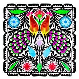 Rękodzieło ludowe - wycinanka ludowa z kolorowym wzorem łowickich pawi