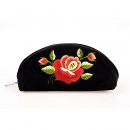 Haftowane etui na okulary - róża jasna czerwona