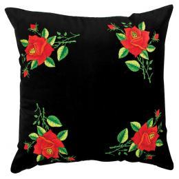 Czarna poduszka z haftem łowickim 45x45 cm - ciemnoczerwone róże