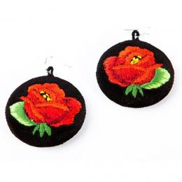 Haftowane kolczyki ludowe z czerwoną różą