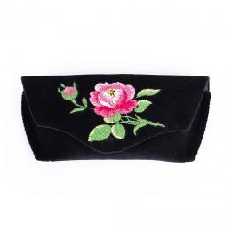 Sztywne etui na okulary - haftowane - różowa róża