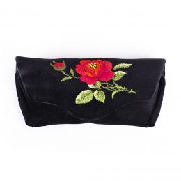 Sztywne etui na okulary - haftowane - czerwona róża