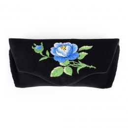 Sztywne etui na okulary - haftowane - niebieska róża