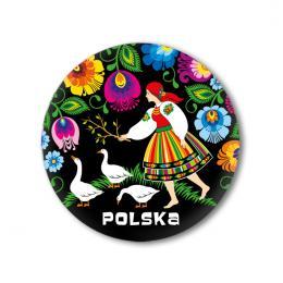 Przypinka POLSKA mała - łowiczanka z gąskami