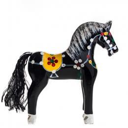 Tradycyjna zabawka ludowa - ręcznie rzeźbiony konik w ludowe wzory - średni - czarny
