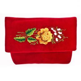 Czerwona aksamitna kopertówka z wzorem złotej różyczki i białymi konwalijkami