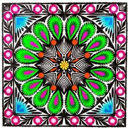 Wycinanka z motywem kwiatowym (zielony) - wzór ludowy