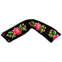 Pasek z haftowanymi różowymi różami łowickimi