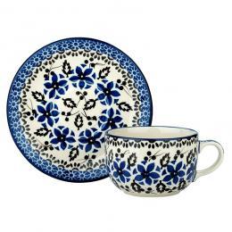 Filiżanka do herbaty - ceramika Bolesławiec- polne kwiaty