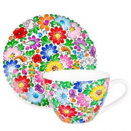 FOLK filiżanka Irenka – ludowe kwiaty z ceramiki opolskiej