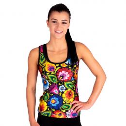 Folk fitness - damska koszulka bokserka - łowickie wzory ludowe - czarna w kwiaty