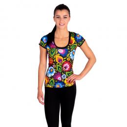 Folk fitness - damska koszulka t-shirt - łowickie wzory ludowe - czarna w kwiaty